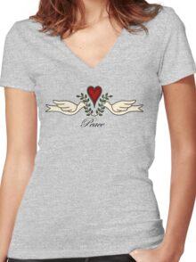 Peace Doves Women's Fitted V-Neck T-Shirt