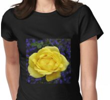 Dreamy Yellow Rose and Purple Lobellia Womens Fitted T-Shirt