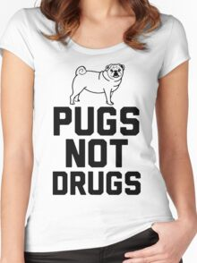 Pugs Not Drugs [Black] Women's Fitted Scoop T-Shirt