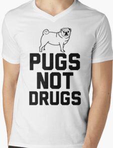 Pugs Not Drugs [Black] Mens V-Neck T-Shirt