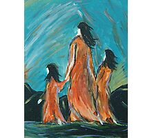 Mother Leading Daughters to Safety  Photographic Print
