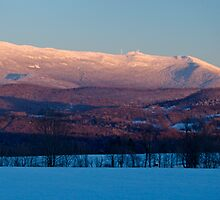 Sunset, Mount Mansfield, Minus 10 Degrees - Panorama by Stephen Beattie