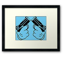 Cartoon Hand Guns Funny Geek Nerd Framed Print