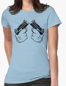 Cartoon Hand Guns Funny Geek Nerd Womens Fitted T-Shirt
