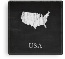 USA Map Chalk Drawing Canvas Print
