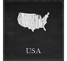 USA Map Chalk Drawing Photographic Print