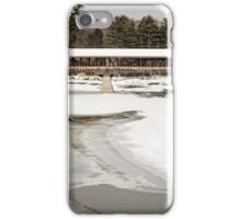 Covered Bridge across the icy Saco River iPhone Case/Skin