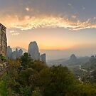 Meteora Sunset Panorama by Yannis Larios