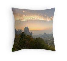 Meteora Sunset Panorama Throw Pillow
