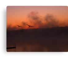 BIRDS OF A FEATHER IN THE FOG Canvas Print