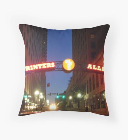 Printers Alley at Night Throw Pillow