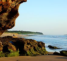 Peeking Outside the Cave - Caves Beach by Bev Woodman