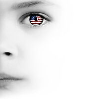 Child's face, eye and american flag by Olga Altunina