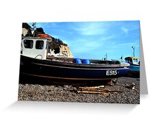 Boats on the Beach at Beer Devon UK Greeting Card
