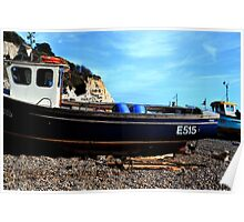 Boats on the Beach at Beer Devon UK Poster