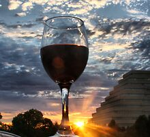 Red Wine in the Sunset by Barbara  Brown