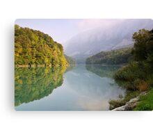 Mist and autumn colours on the Rhône river Canvas Print