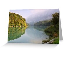Mist and autumn colours on the Rhône river Greeting Card