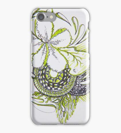 green flower lines  iPhone Case/Skin