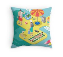 Isometric Beach Life - Summer Holidays Concept  Throw Pillow