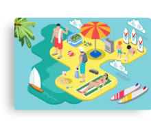 Isometric Beach Life - Summer Holidays Concept  Canvas Print