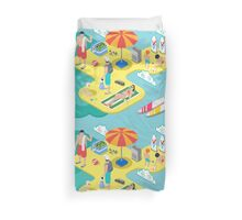 Isometric Beach Life - Summer Holidays Concept  Duvet Cover