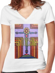 EASTER 49 Women's Fitted V-Neck T-Shirt