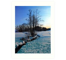Trees and stream in winter wonderland | landscape photography Art Print