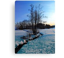 Trees and stream in winter wonderland | landscape photography Canvas Print