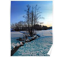 Trees and stream in winter wonderland | landscape photography Poster