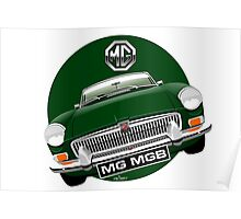 MGB chrome bumper British Racing Green Poster