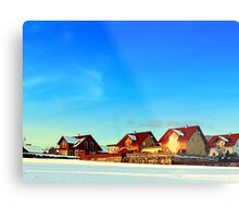 Village and winter sun reflections | landscape photography Metal Print