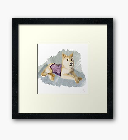Doge in a Corset Framed Print