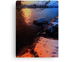 Winter evening down by the river | landscape photography Canvas Print
