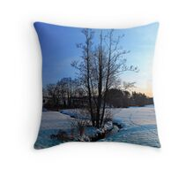 Trees and stream in winter wonderland | landscape photography Throw Pillow