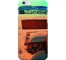 Enjoy the winter sun on a bench | landscape photography iPhone Case/Skin