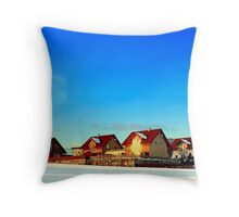 Village and winter sun reflections | landscape photography Throw Pillow
