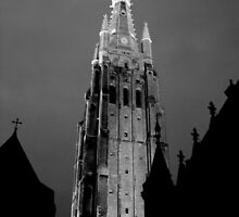 Bruges cathedral tower by Jeff Barnard