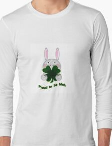 Cute St. Patricks Day Bunny Proud to be Irish Long Sleeve T-Shirt