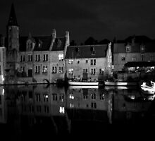 Bruges waterfront refections by Jeff Barnard