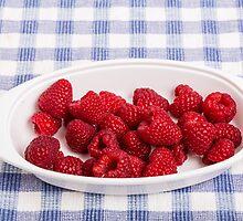 Red Raspberries in Bowl by dbvirago