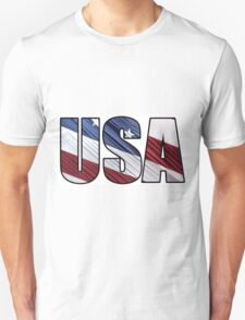 USA in Red White and Blue American Patriotic Flag Unisex T-Shirt