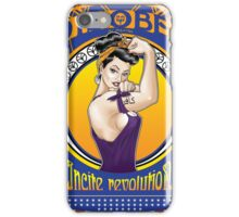 Disobey - Art Nouveau style Rosie the Riveter retro style pin up graphic iPhone Case/Skin