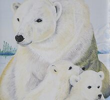 Polar Bear and Cubs by Olive Denyer