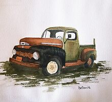 51' Ford Watercolor Painting by BrittanyBellows