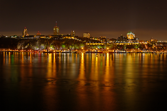 Night View of the Quebec City Skyline by Stephen Beattie