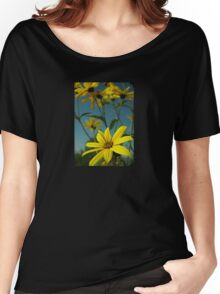 Yellow Flowers with Blue Sky T-Shirt Women's Relaxed Fit T-Shirt