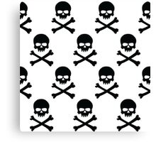 Black and white skull and crossbones pattern Canvas Print