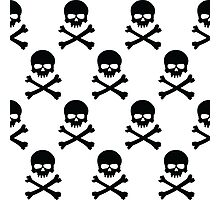 Black and white skull and crossbones pattern Photographic Print