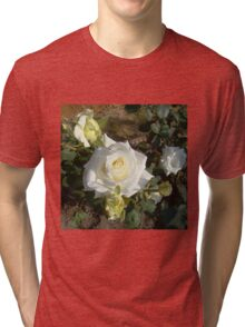 White Rose in the Garden 4 Tri-blend T-Shirt